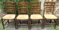 Set of Six Ladderback Rush Seat Dining Chairs